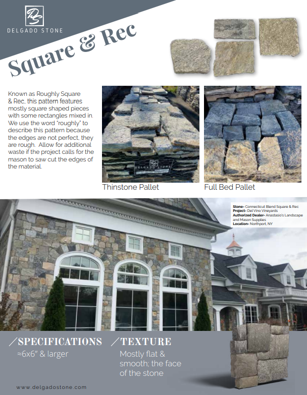 Delgado Stone Square and Rectangle Specifications