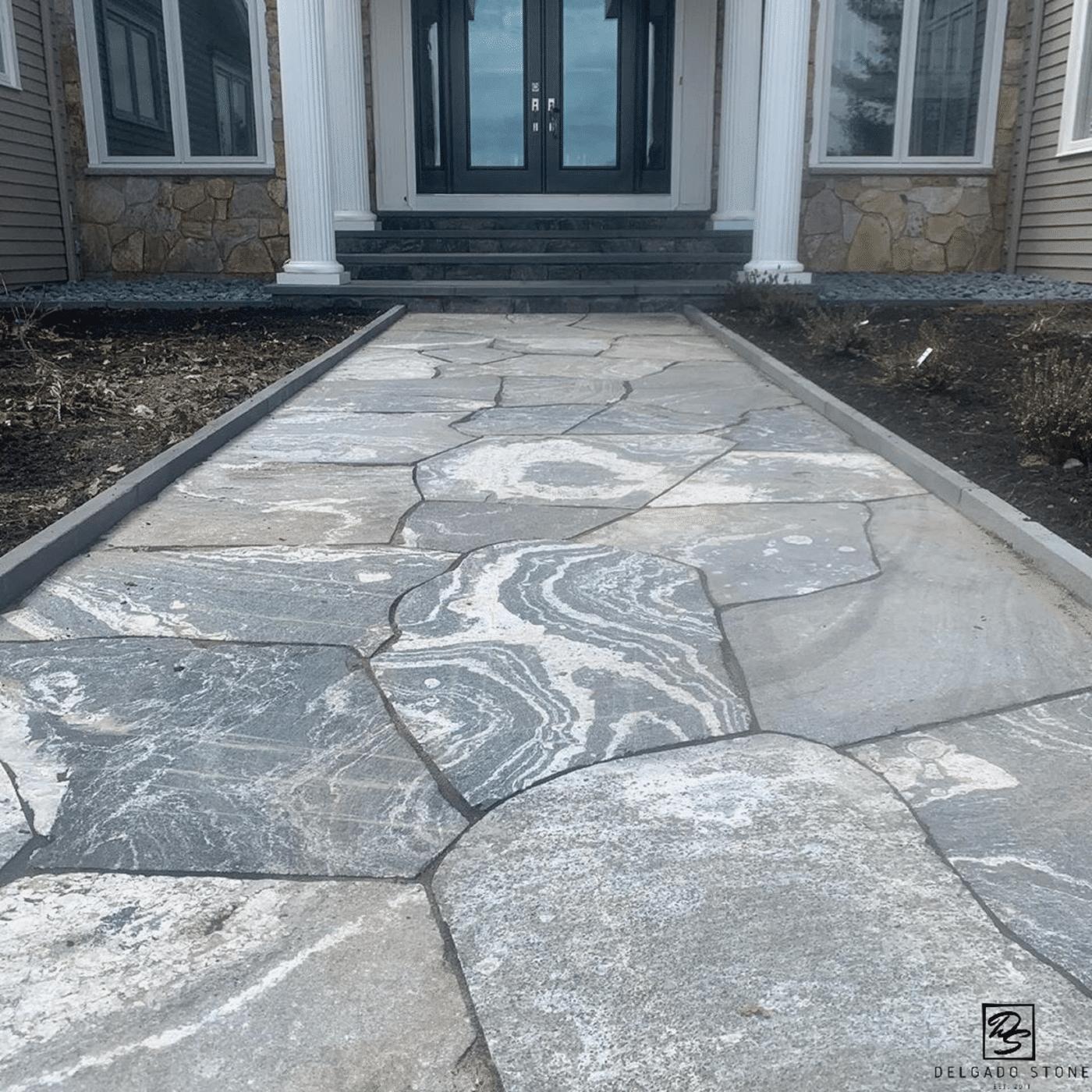 American Mist Flagstone veneer walkway