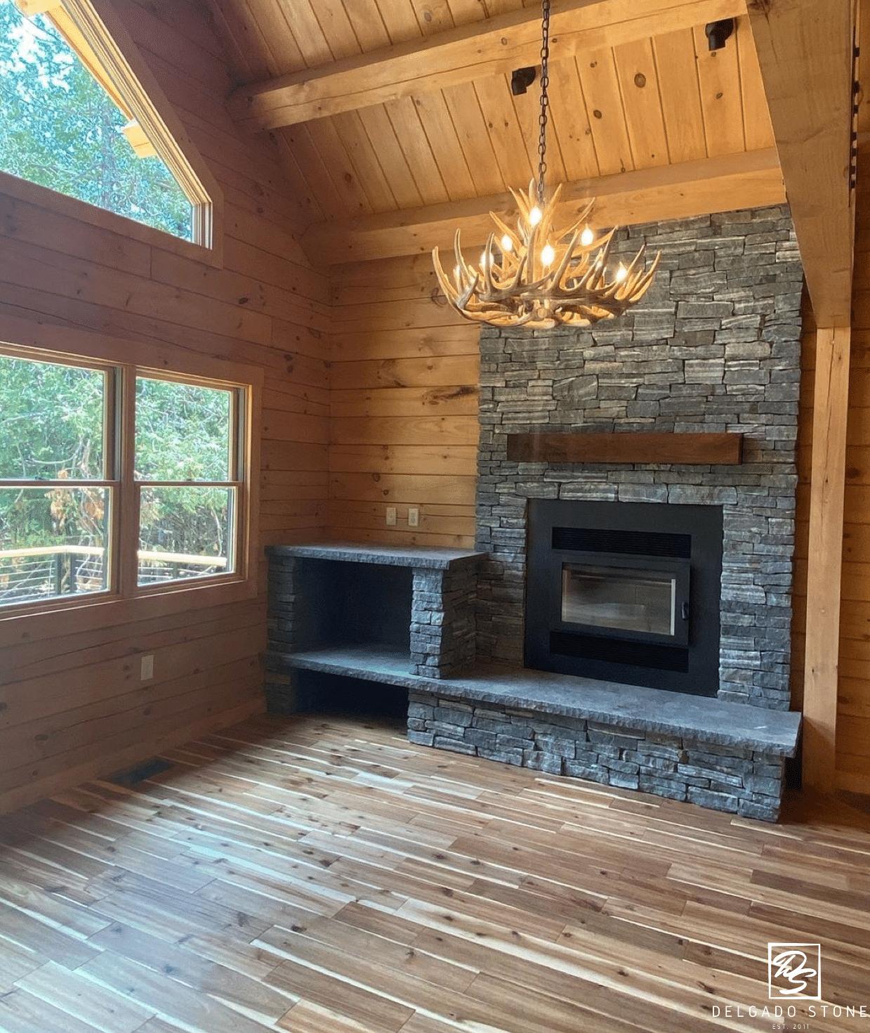 American Mist Ledgestone Fireplace