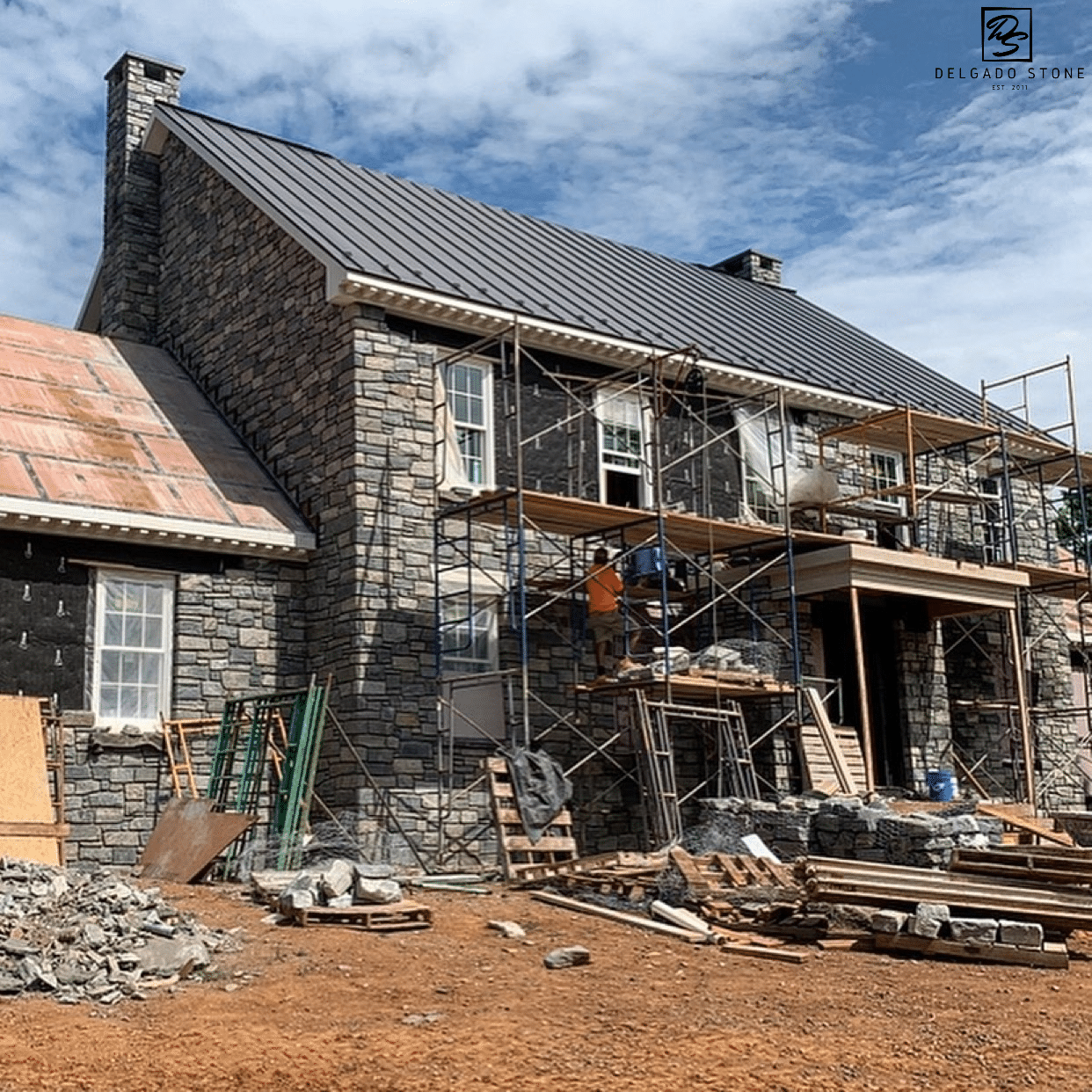 Black Ash and Liberty Hill Natural Stone Siding