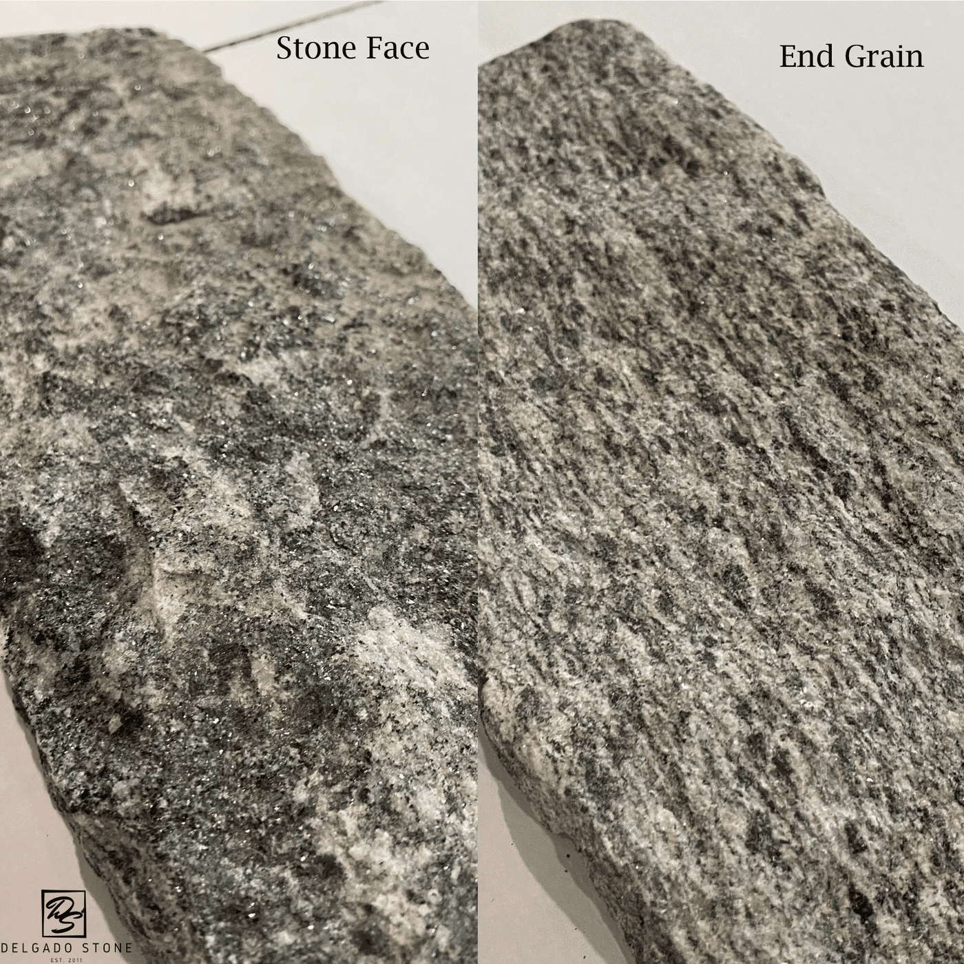 Close Up Stone Face compared to End Grain