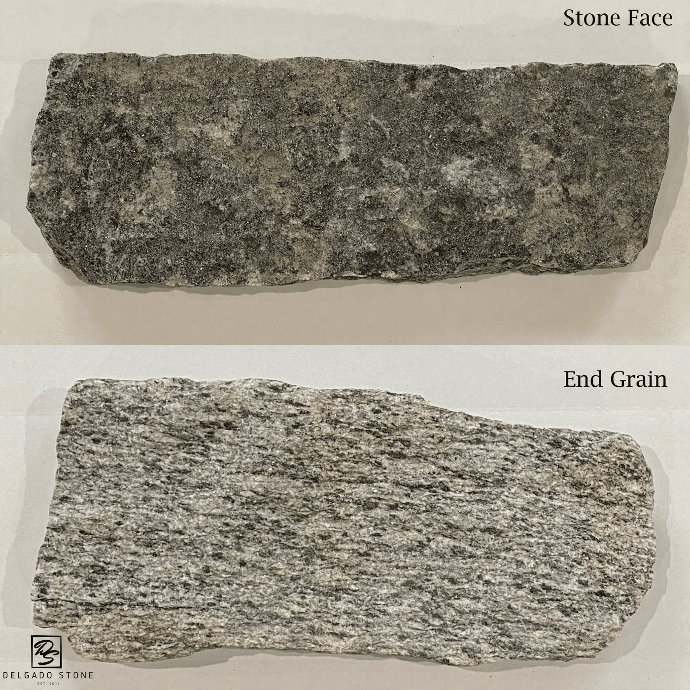 Stone face compared to end grain