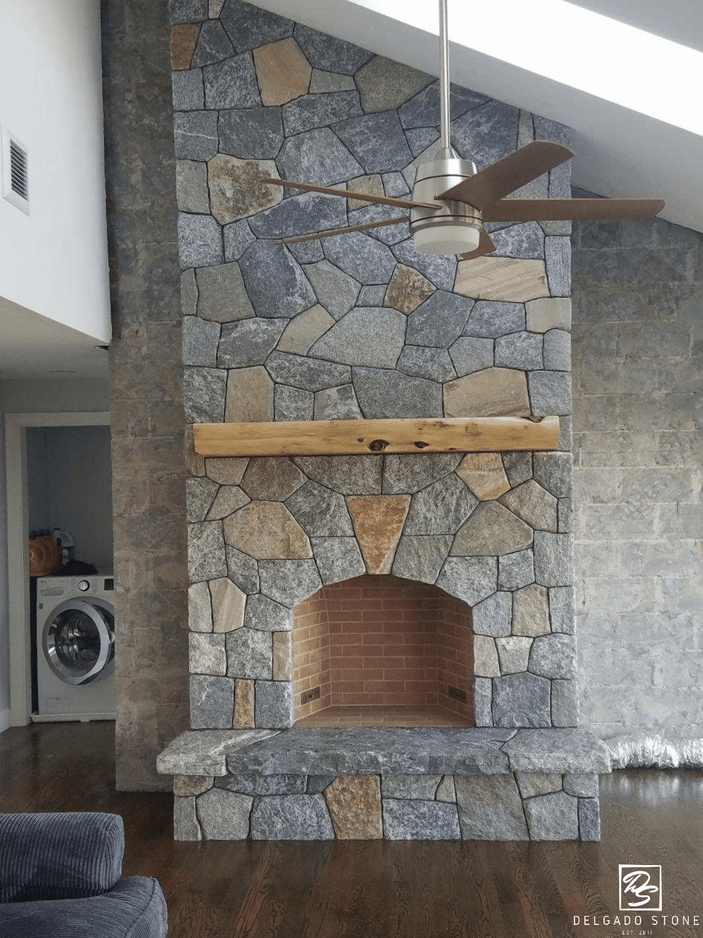 CT Blend Mosaic Natural Stone Fireplace