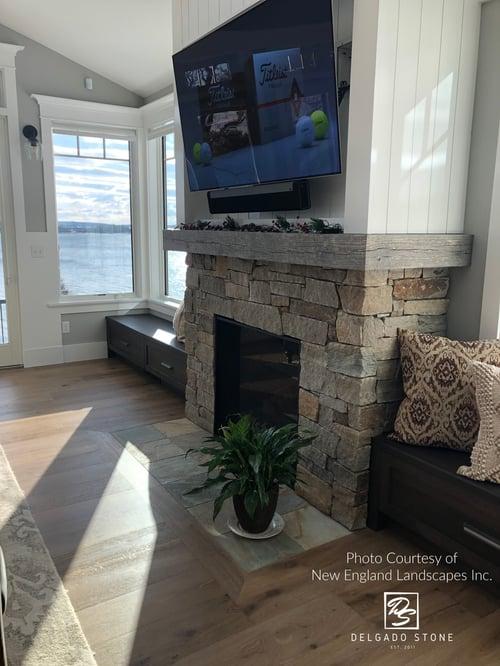 Spruce Mountain Ashlar Fireplace