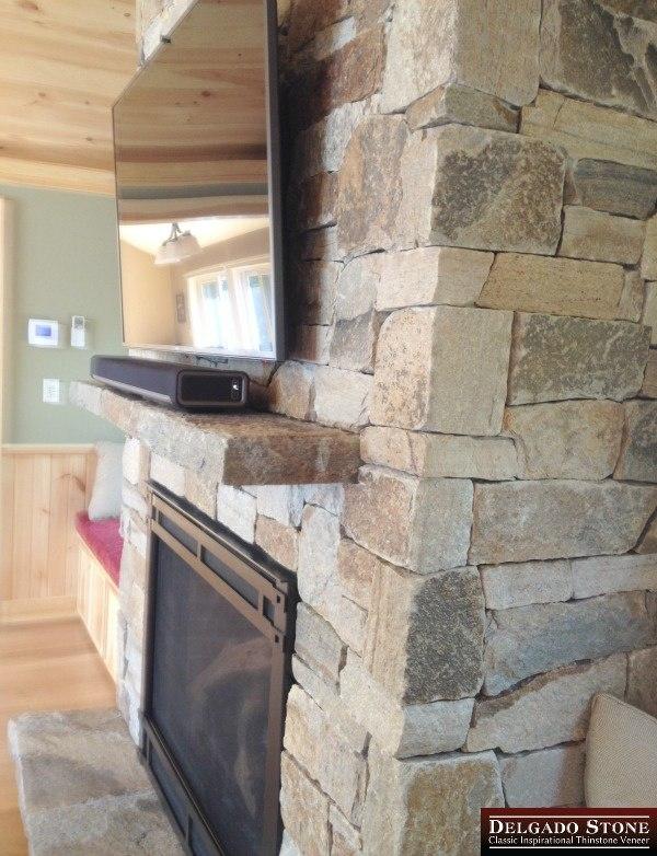 Colonial Tan Ashlar Fireplace