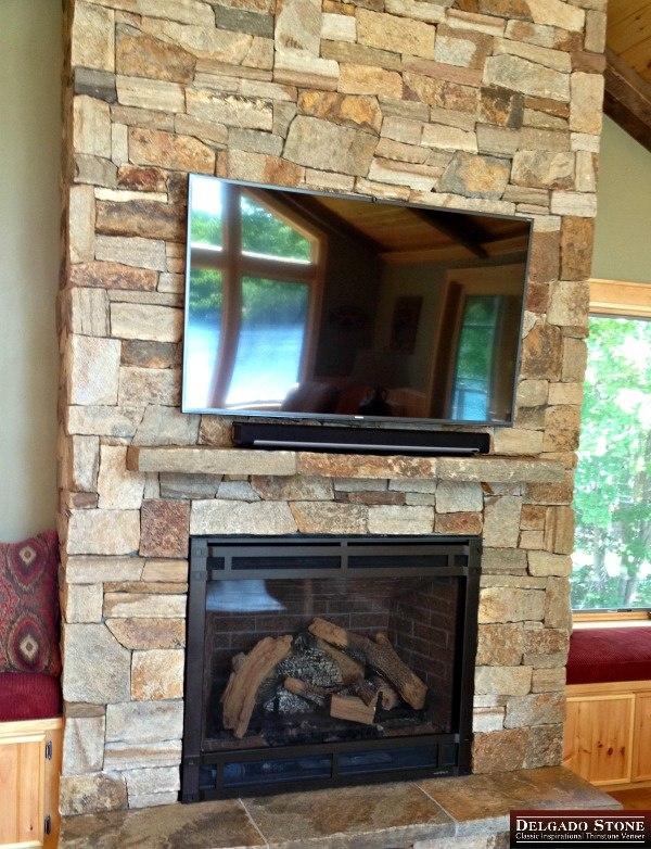 Colonial Tan Thinstone Veneer Fireplace