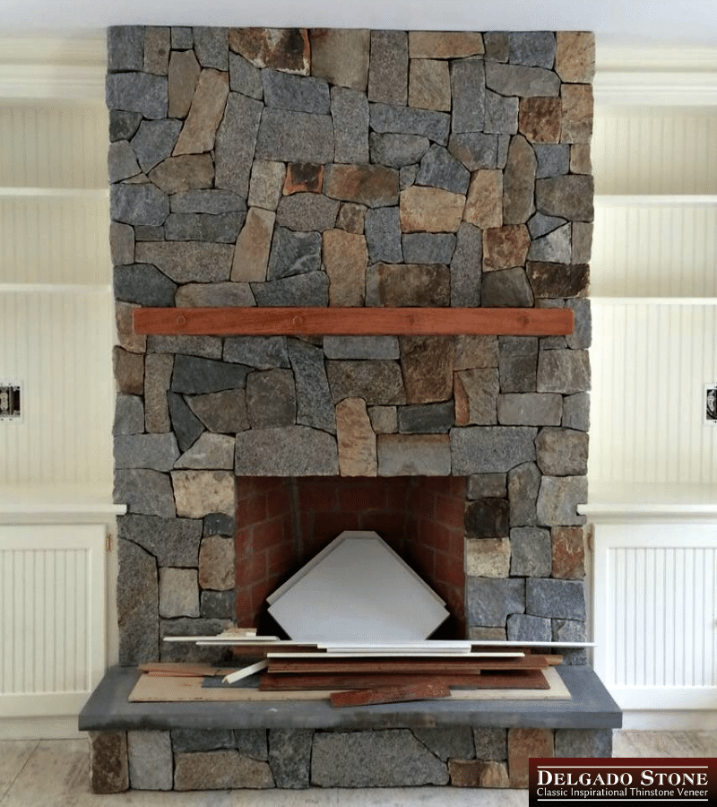 Old New England Wall Strip Fireplace