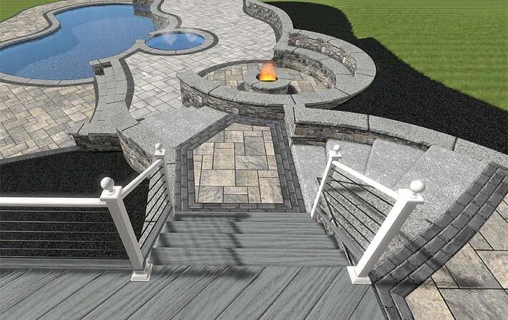 Patio Rendering with Natural Stone Fire pit