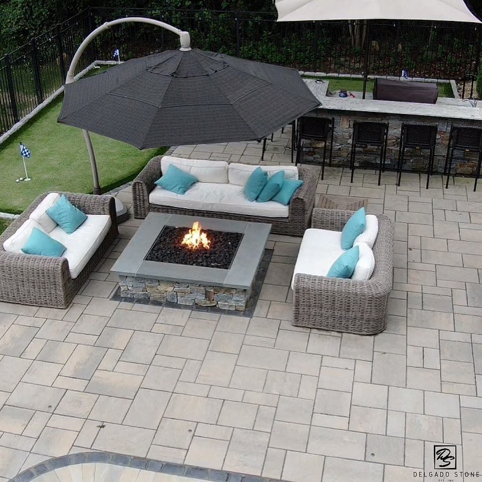 Firepit and Outdoor Kitchen Made With Natural Stone Veneer