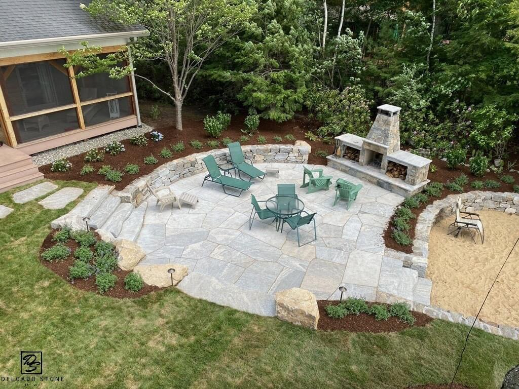 Natural Stone Patio with Fireplace