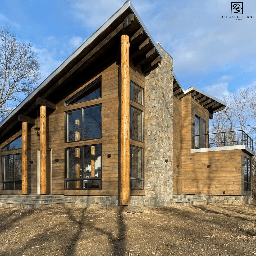 Inhabitable Work of Art made with Natural Fieldstone Dark Veneer
