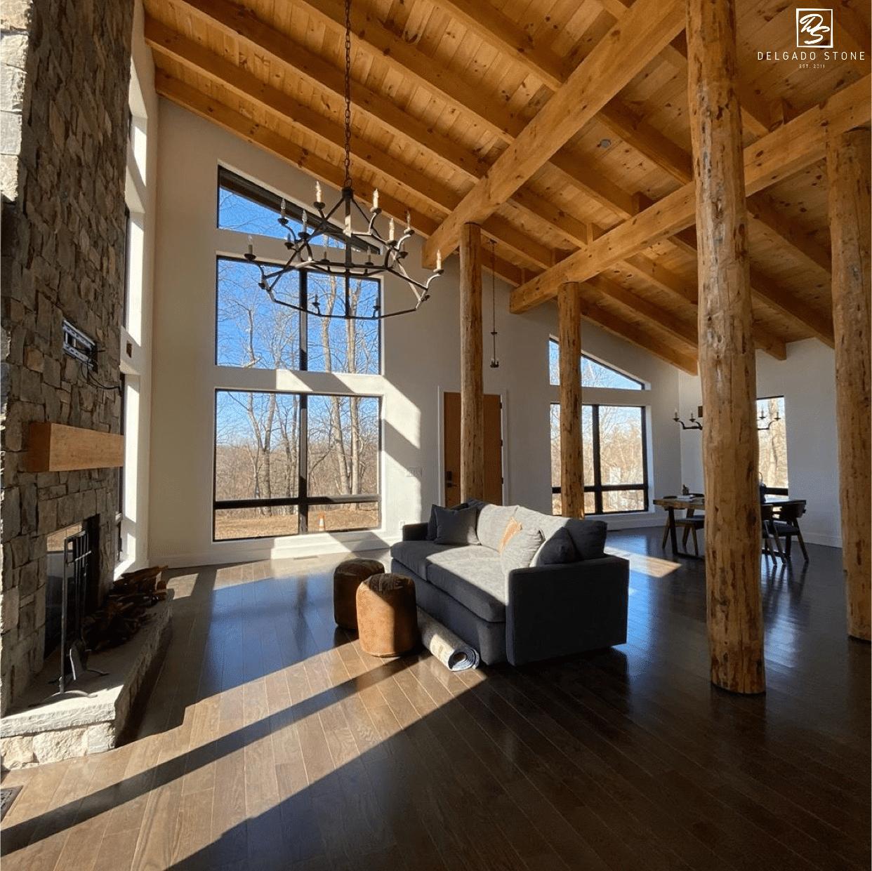 Main living area with Fieldstone Dark Fireplace