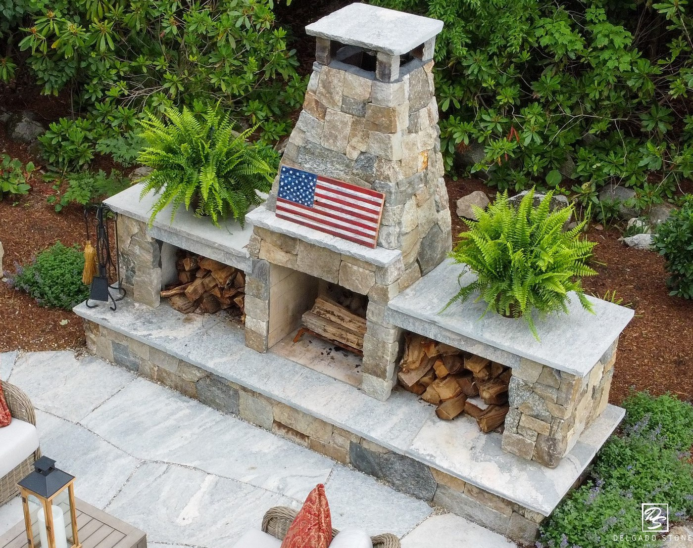 Liberty Hill Patio and Natural Stone Fireplace
