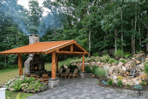 Pergola and Stone Fireplace