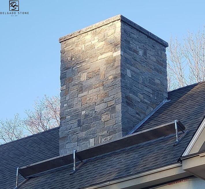 Old New England Wall Ashlar Natural Stone Chimney