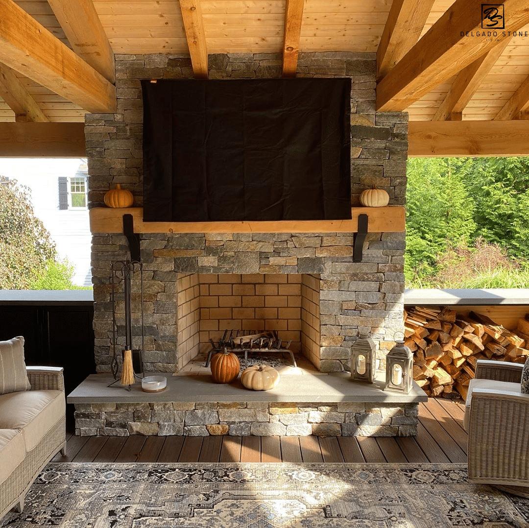 Spruce Mountain Ledgestone Fireplace