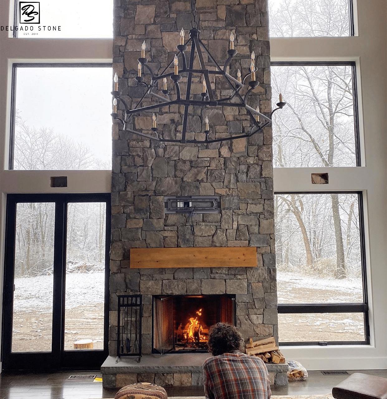 Fieldstone Dark Ashlar Natural Stone Fireplace